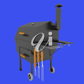 oven barbecue grill on a blue background