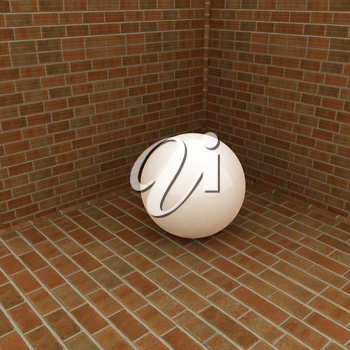 The white plastic ball in the corner of a brick