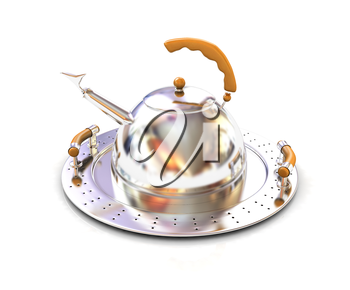 Chrome teapot on platter on a white background