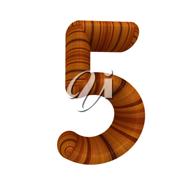 Wooden number 5- five on a white background.