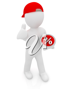Best percent! 3d man in a red peaked cap keeps the most beneficial interest! On a white background