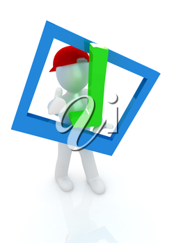 3d man in a red peaked cap with thumb up and a huge tick on a white background