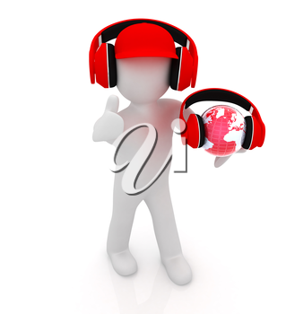 3d white man in a red peaked cap with thumb up, tablet pc and headphones. Global concept with blue earth