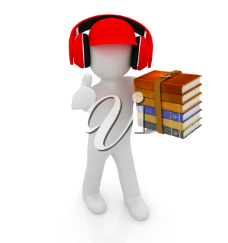3d white man in a red peaked cap with thumb up, books and headphones on a white background