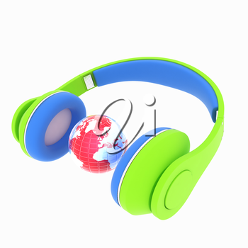 3d icon of colorful headphones and earth isolated on white background