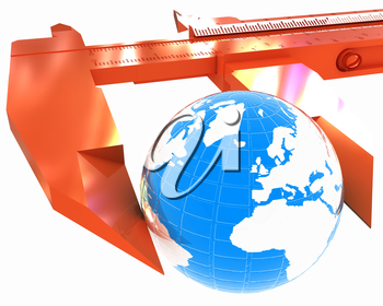 Vernier caliper measures the Earth. Global 3d concept on a white background