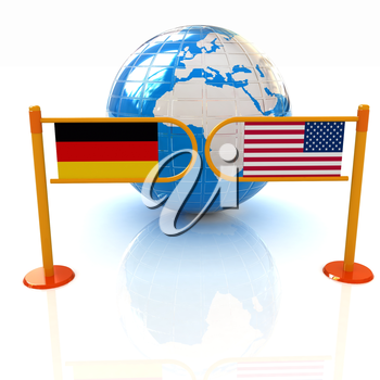 Three-dimensional image of the turnstile and flags of USA and Germany on a white background