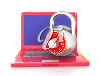 Laptop with lock.3d illustration on white isolated background.