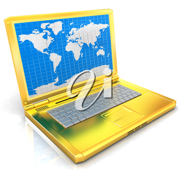 Gold laptop with world map on screen on a white background