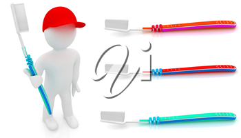 Toothbrush set on a white background