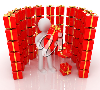 на белом фоне 3d man and red gifts with gold ribbon on a white background