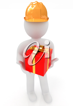 3d man in hard hat with gift on a white background