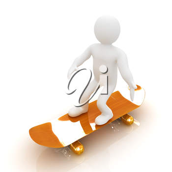 3d white person with a skate and a cap. 3d image on a white background