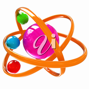 3d atom isolated on white background