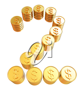 Number two of gold coins with dollar sign isolated on white background