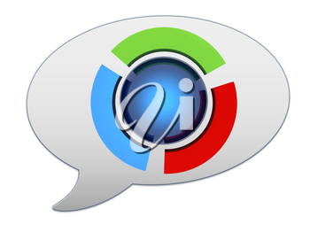messenger window icon and blue sphere and colorful semi-circles
