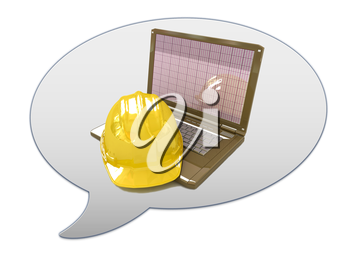 messenger window icon and hard hat. Technical engineer concept