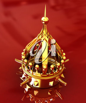 Gold crown isolated on red background