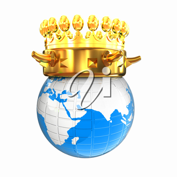 Gold crown on earth isolated on white background
