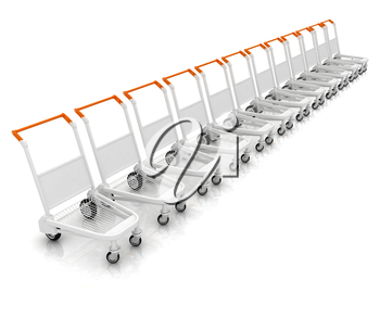 Trolleys for luggages at the airport