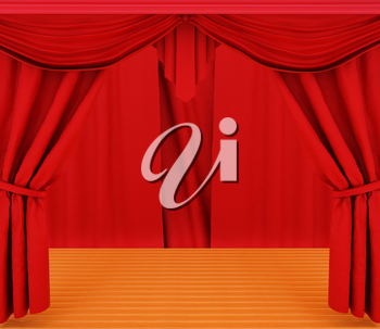 Red curtains and wooden scene floor