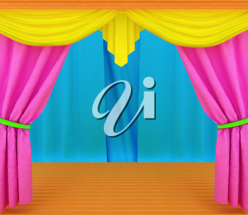 Colorfull curtains and wooden scene floor