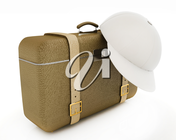 Brown traveler's suitcase and peaked cap on a white background