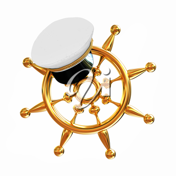 Marine cap on gold marine steering wheel on a white background