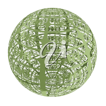 Arabic abstract glossy dark green geometric sphere