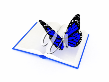 butterfly on a book on a white background