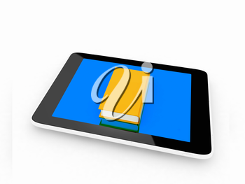 tablet pc and book on white background