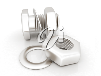 stainless steel bolts with a nuts and washers on white