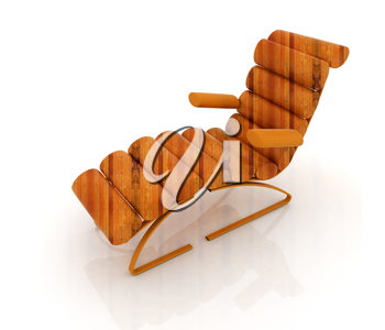 Comfortable wooden Sun Bed on white background