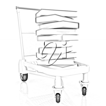 books in cart on a white background