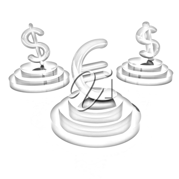 icon euro and dollar signs on podiums on a white background