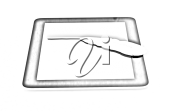 Cell Phone and quill on a white background