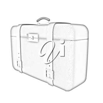 Red traveler's suitcase on a white background