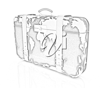suitcase for travel on a white background