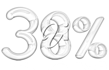 3d red 38 - thirty eight percent on a white background