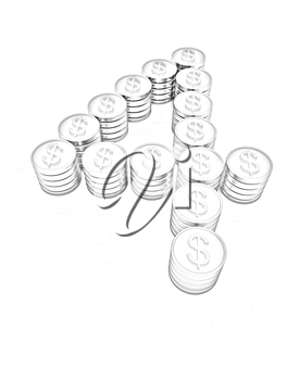 the number four of gold coins with dollar sign on a white background