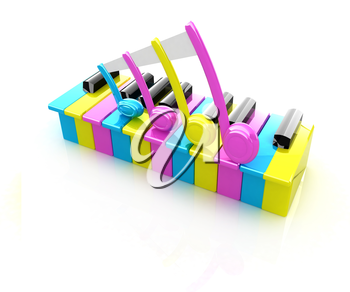 Colorfull piano keys on a white background