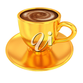 Gold coffee cup on saucer on a white background