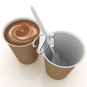 Coffe in fast-food disposable tableware