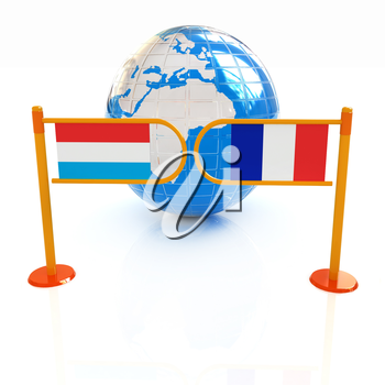 Three-dimensional image of the turnstile and flags of France and Luxembourg on a white background