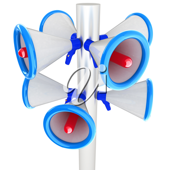 Loudspeakers as announcement icon. Illustration on white