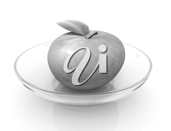 apple on a plate on a white background
