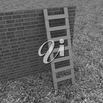 Ladder leans on brick wall on a green grass