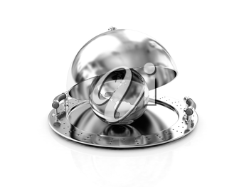 Earth globe on glossy salver dish under a cover on a white background