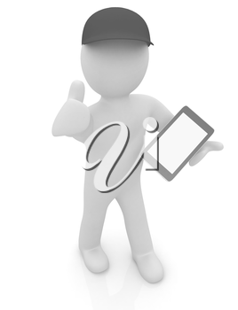 3d white man in a red peaked cap with thumb up and tablet pc on a white background