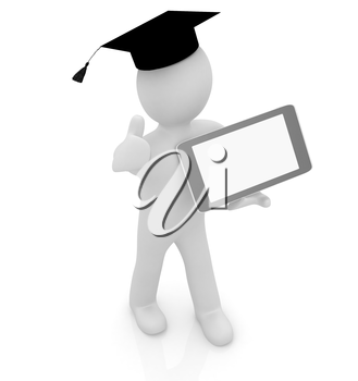 3d white man in a grad hat with thumb up and tablet pc - best gift a student on a white background